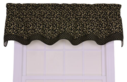 - Silipower Tremblay Small Scale Scroll Bradford Valance Window Curtain, Black
