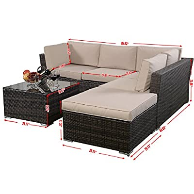 Giantex 4pc Patio Sectional Furniture Pe Wicker Rattan Sofa Set Deck Couch Outdoor