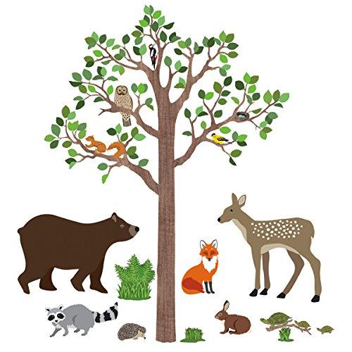 Large Woodland Animals 7 ft Tree Fabric Wall