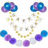 yotruth Purple Birthday Decorations Kit with Birthday Banner Pomoms and Balloons - Lavender Purple Birthday Party Supplies for Kids and Adults Birthday-Purple and Blue Decorations Set