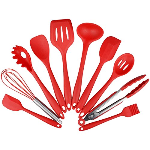 WESTENCAT Kitchen Utensils Set 10 Pcs Cherry Red Heat Resistant Nonstick Silicone Flatware Serving Utensils Sets for Cooking or Baking