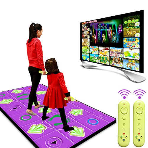 QXMEI Dance Mat Double TV Computer Interface Dual-use Wireless Somatosensory Dance Machine,Purple