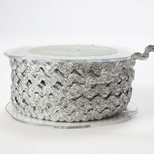 - OZXCHIXU(TM) Silver Metallic Ric Rac 6mm Ribbon Lace on a 10m length , Decoration