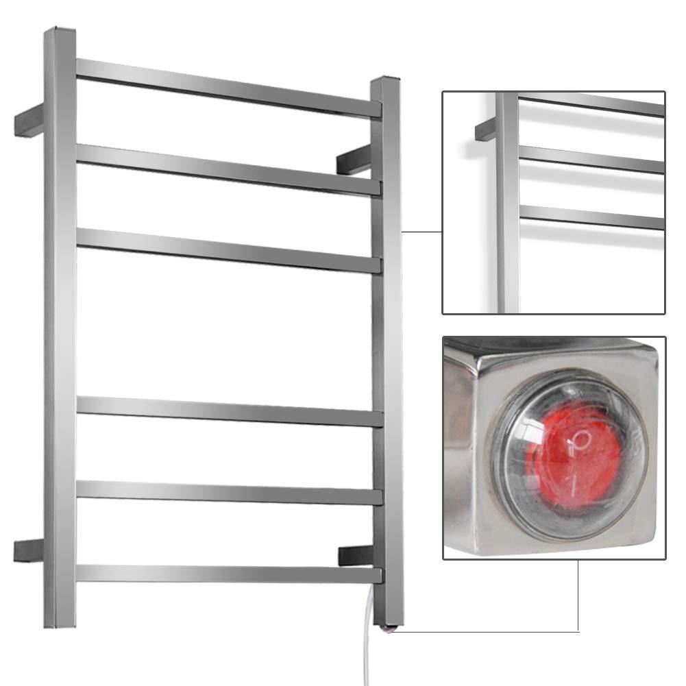 SHARNDY Electric Towel Warmers 3+3 Square Bars ETW13C Brush Nickel Towel Racks Bathroom 68W UL Listed by SHARNDY (Image #3)