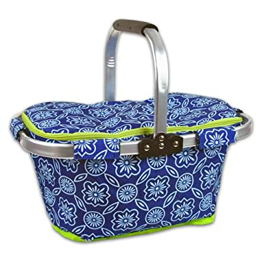 DII Insulated Market Basket or Picnic Tote, Perfect for Holidays Parties,Farmers Markets,BBQ's, Grocery Shopping, Potlucks,To Go Lunches, Craft/Dish Storage & Monogramming-Garden Lattice Blue/White