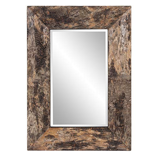 Howard Elliott Kawaga Rectangular Hanging Wall Mirror, Natural Rustic Lodge Style Birch -