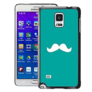 Planetar® ( Moustache Green White Minimalist ) Samsung Galaxy Note 4 IV / SM-N910 Fundas Cover Cubre Hard Case Cover