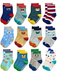 RB-71317 Non Skid Anti Slip Slipper Cotton Striped Crew Dress Socks with Grips for Baby Toddler Boys (3-9 Months, 12 designs/RB-71317)