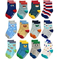 Deluxe RB-71317 Non Skid Anti Slip Cotton Socks With Grips For Baby Toddler Boys (9-18 Months, 12 designs/RB-71317)
