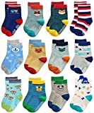 Deluxe Non Skid Anti Slip Slipper Cotton Striped Crew Dress Socks With Grips For Baby Toddler Boys (9-18 Months, 12 designs/RB-71317)
