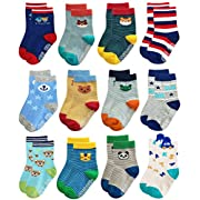 Deluxe Non Skid Anti Slip Slipper Cotton Striped Crew Dress Socks With Grips For Baby Toddler Boys (3-5 Years, 12 designs/RB-71317)