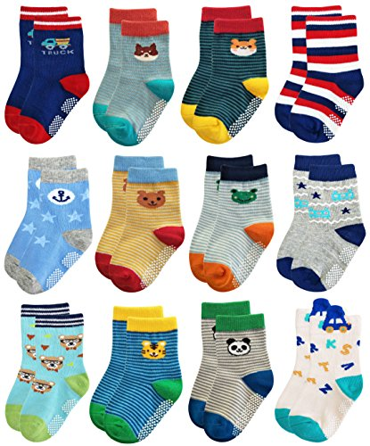 Deluxe Non Skid Anti Slip Slipper Cotton Striped Crew Dress Socks With Grips For Baby Toddler Boys (9-18 Months, 12 (13 Slipper Socks)