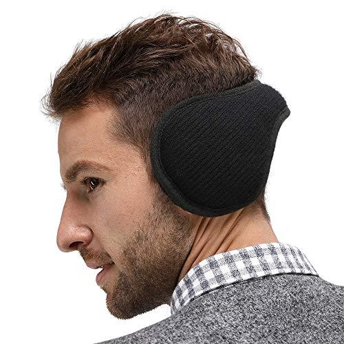(LETHMIK Outdoor Foldable Winter EarMuffs,Unisex Packable Knit Warm Fleece Ear Warmers Cover Black)