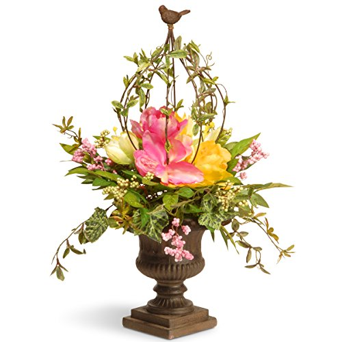 Topiary Bird (National Tree 25 inch Spring Floral Topiary with Bird Finial and Decorative Urn Base (RAS-L030138A))