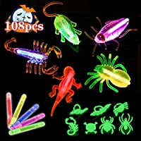 Acekid Halloween Glow Sticks Bulk, 108pcs Halloween Light Up Necklaces, Glow in The Dark Party Supplies for Kids and Adults, Halloween Treat Bag Fillers(40 Glow Sticks+20 Bugs+20 Ropes+28 Rings)
