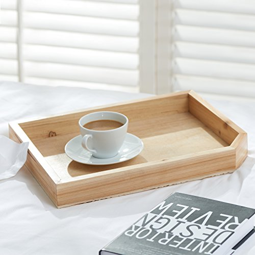 Rustic Wood Coffee Table Breakfast Tray, Decorative Office Document or Magazine Holder, Beige (Breakfast Table Centerpieces)