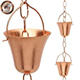 Marrgon Rain Chain Copper To Replace Gutter Downspouts With Decorative Chimes And Cups, 8.5 Feet