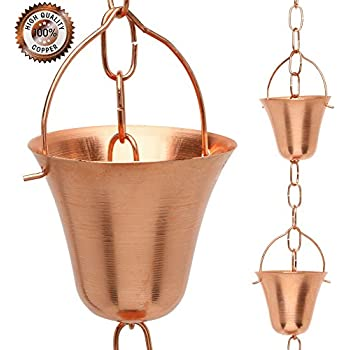 Rain Chain for Outdoor Gutter Downspout, Pure Copper Decorative Chimes - Cups - Bells, 6.5 feet
