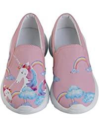Girls Slip Ons Joyful Animals & Lovely Unicorn Pattern...