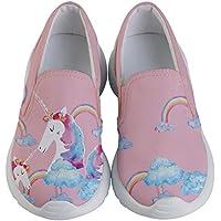 PattyCandy Child & Youth Slip Ons Joyful Animals & Lovely Unicorn Kids Lightweight Casual Shoes, Size:US 8C-US 7Y
