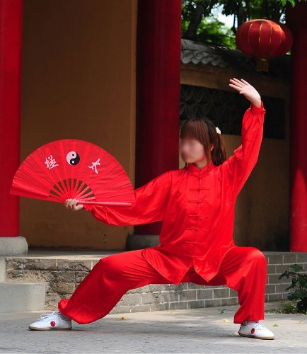 "Tai Chi Uniform (Clothing) - White, Red, Blue and Black (Large (5'9"" - 6'1"" & 170 -200 lbs), Red)"