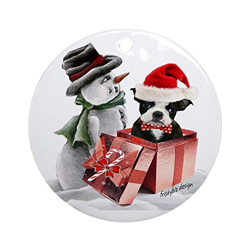 - CafePress Boston Terrier With Snowman Ornament (Round) Round Holiday Christmas Ornament