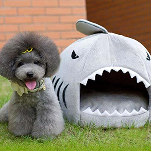 Cheap Cute Animal Shark Mouth Design Round Comfortable Indoor House Shelter Puppy Kitten Dog Cave Cat Bed with Big Paw Print and Removable Pet Bed Mat-Gray