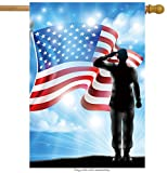 Cheap ShineSnow American Flag Veterans Day Soldier Military House Flag 28″ x 40″ Double Sided, Polyester Memorial Patrotic Army 4th of July Welcome Yard Garden Flag Banners for Patio Lawn Outdoor Home Decor