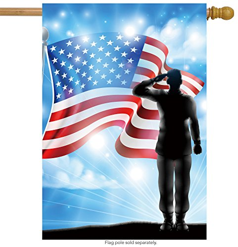 (ShineSnow American Flag Veterans Day Soldier Military House Flag 28