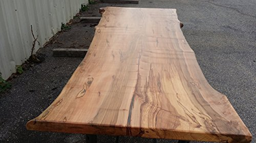 Highly Figuredd Live Edge Ambrosia Maple Slab Dining Table Top - NO BASE - Edge Tabletop
