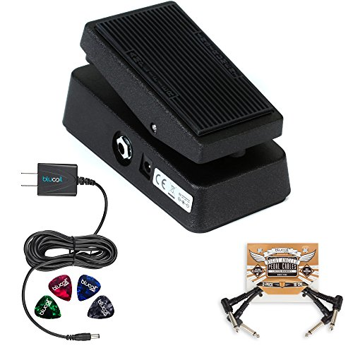 Jim Dunlop CBM95 Cry Baby Mini Wah Pedal BUNDLED WITH 2 Pack of Blucoil Pedal Patches, Power Supply Slim AC/DC Adapter for 9 Volt DC 670mA AND Celluloid Guitar Picks by blucoil