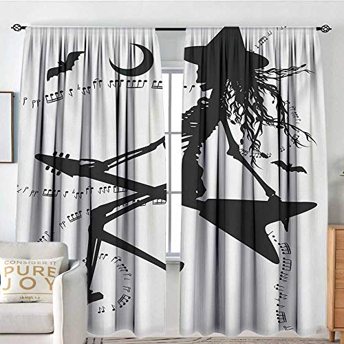 Petpany Pattern Curtains Music,Witch Flying on Electric Guitar Notes Bat Magical Halloween Artistic Illustration,Black White,All Season Thermal Insulated Solid Room Drapes 72
