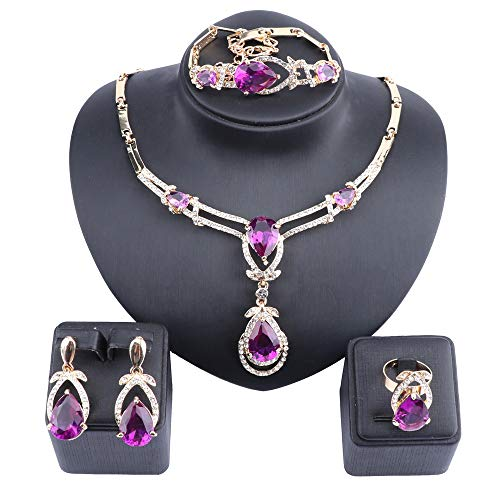 Exquisite Zircon Crystal Necklace Earring Bracelet Ring Bridal Jewelry Sets for Women Gift Party Wedding Prom (Gold Purple)
