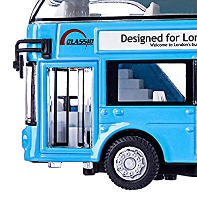 HMANE Pull Back Cars Alloy Double Decker School Bus Construction Vehicles Mini Model Car Toys with Light for Kids Boys Girls Toddlers - (Blue): Toys & Games