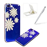 Silicone Case for iPhone 7 Plus,Rubber Case for iPhone 8 Plus,Herzzer Luxury Ultra Slim Stylish Blue Light [White Flower Pattern] Dual Layers Protection Soft TPU Bling Sparkle Glitter Protective Designer Case Cover for iPhone 7 Plus/iPhone 8 Plus 5.5 inch + 1 x Free White Cellphone Kickstand + 1 x Free Silver Stylus Pen