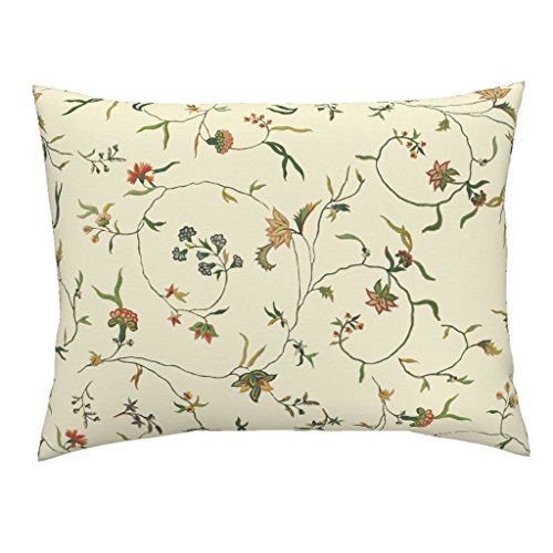 Chintz Floral Antique Embroidery Marie Antoinette Gypsophilia Cream Euro Knife Edge Pillow Sham Cecile Chintz ~ Gypsophila by Peacoquettedesigns 100% Cotton Sateen by Roostery