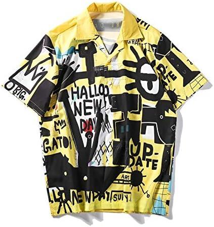 DXHNIIS Camisa Graffitti Retro Summer Street para Hombre Camisa de Manga Corta con Cuello Vuelto Camisas Vintage para Hombre Camisa XXL: Amazon.es: Deportes y aire libre