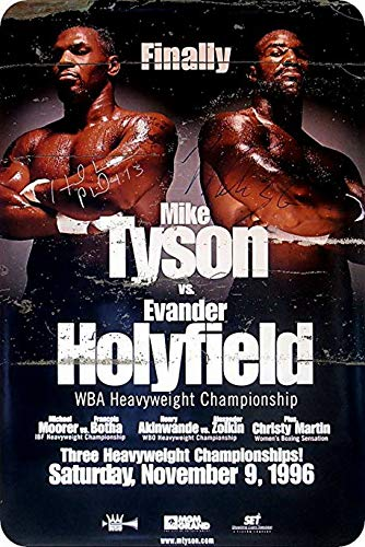 (Uptell Metal Wall Sign Mike Tyson Evander Holyfield Poster Classic Box Fight Decor Bed Garage Vintage Rusted)