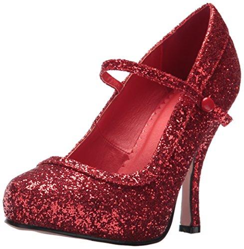 Ellie Shoes Women's 423-Candy Glitter Maryjane Platform Pump, Red, 9 US/9 M US ()