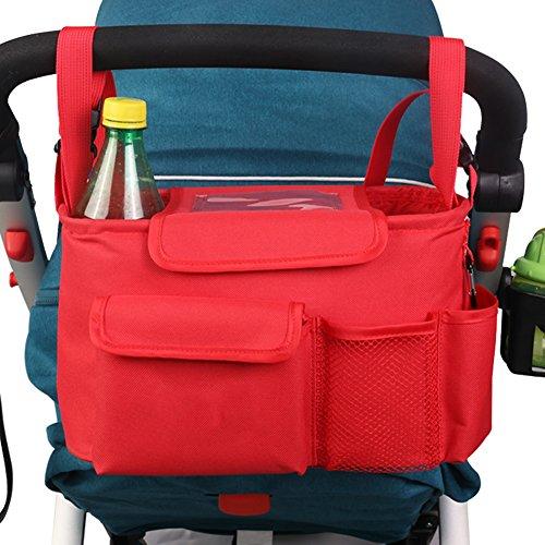 OLizee Universal Stroller Organizer with Removable Shoulder Strap Baby Diaper Bag Car Organizer Keeps Phone Keys Drinks Wipes Red