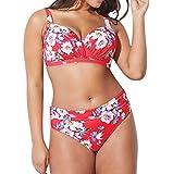 Wintialy Women Plus Size Printing Padded Bra Bikini Split Body Swimsuit Beachwear