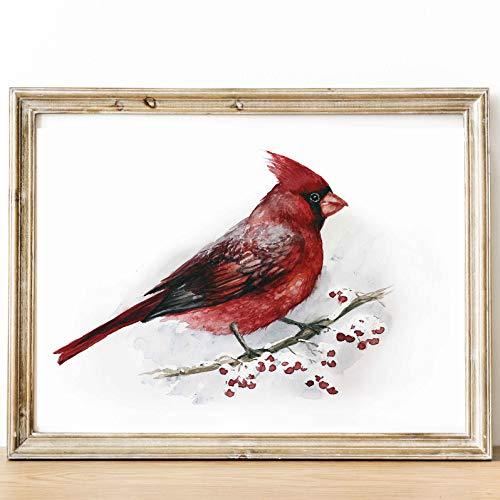 (Red Cardinal Print Watercolor art Bird Living room illustration nursery. Fine art Animal Woodland Prints Forest wildlife Home decor bird art print 8 x 10 inches Unframed)