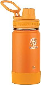 Takeya Kids Insulated Water Bottle w/Spout Lid, 14 Ounce, Tangerine