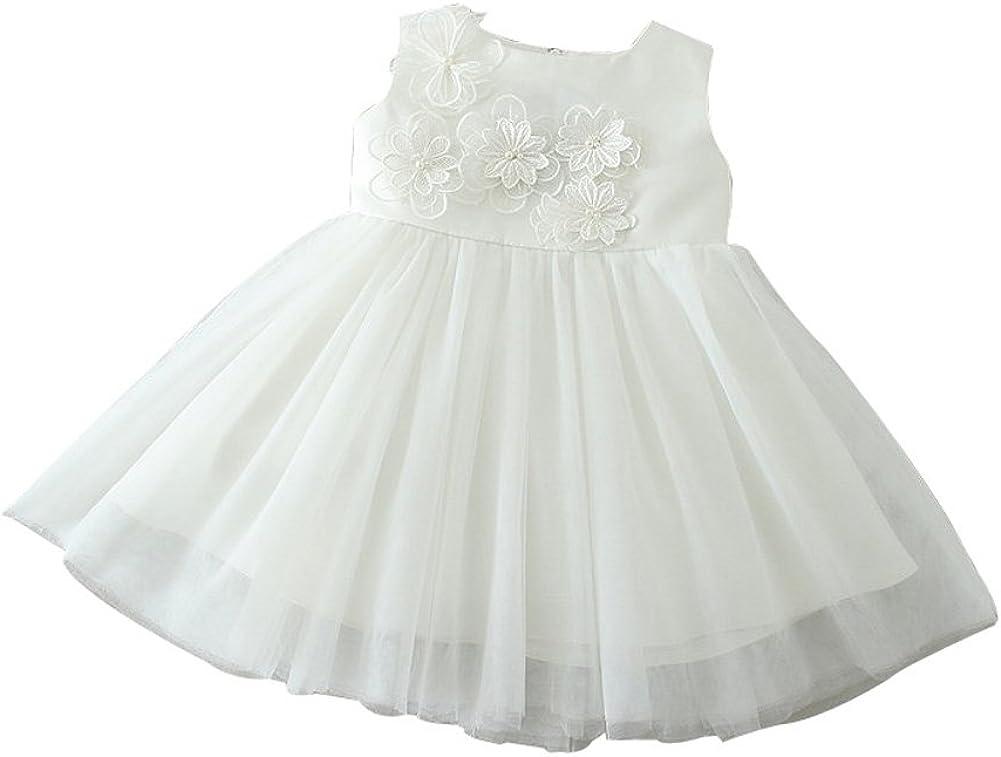 ZAMME Baby Girl Christening Baptism Gowns Flower Toddler Girl Dress