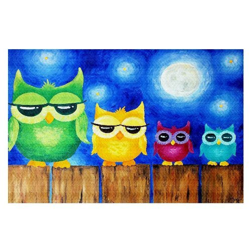 DiaNoche Woven Area Rugs, Kitchen Mats, Bath Mats by nJoy Art Owls on a Fence Blue Small 2x3 Ft