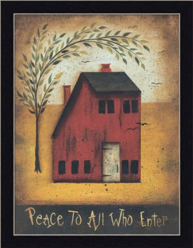 Saltbox House Folk Art (Peace to All Who Enter by John Sliney Folk Art Sign 13.5x17.5 in Art Print Framed Picture)