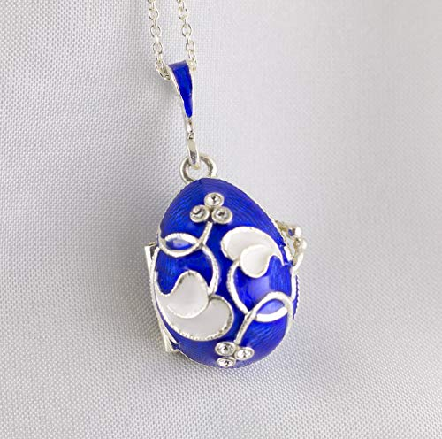 Sterling Silver Guilloche - Blue Locket Photo Frames Two Pictures Sterling Silver Necklace for Women Guilloche Enamel Jewelry Gentle White Leaves-Hearts Loving Memories Pendant