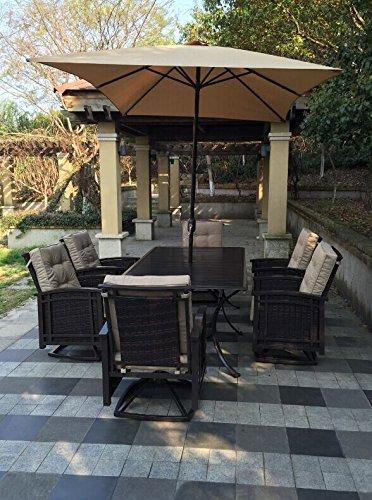 6 Pc Patio Set With Umbrella: Pebble Lane Living 9pc Outdoor Wicker Patio Dining Set