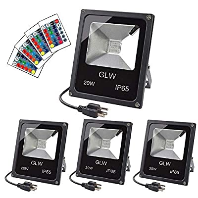 GLW 20W RGB LED Flood Lights,Color Changing Floodlight with Remote Control,Waterproof Outdoor Landscape Lighting,16 Colors 4 Mode Dimmable Wall Washer Light,Stage Lighting for Garden,Yard (4 Pack)
