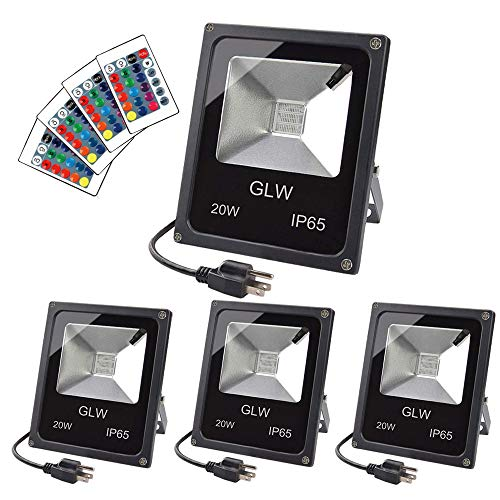 (GLW LED RGB Flood Light 20W Remote Control IP65 Waterproof Outdoor Landscape Lighting 16 Colors Changing 4 Mode Security Light Tunable Wall Washer Light for Garden,Lawn,Yard (4)